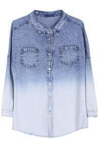 ROMWE Gradient Blue Long-sleeved Denim Shirt