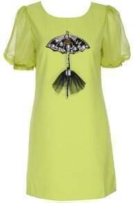 ROMWE Diamante Umbrella Embellished Green Short-sleeved Dress