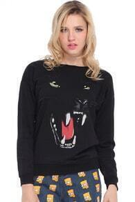 Leopard with Sharp Teeth Print Black Pullover