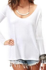 ROMWE Shredded Scoop Collar White T-shirt