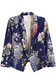 Buttonless Blue Floral Print Blazer