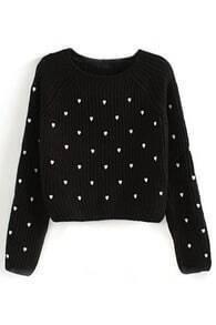 Heart Embroidered Black Jumper