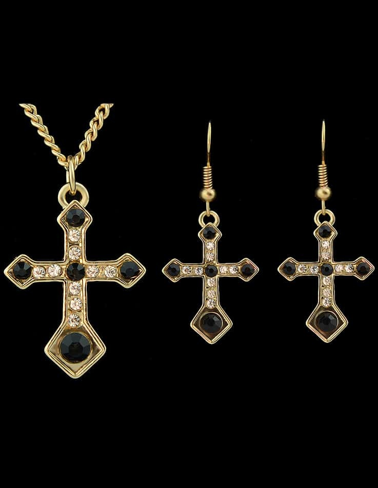Black Diamond Gold Cross Necklace With Earrings