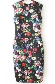 Black Cap Sleeve Floral Print Knee Length Dress