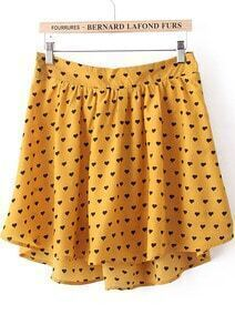 Yellow Heart Print High-Low Skirt