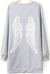 Grey Long Sleeve Wing Print Loose Sweatshirt