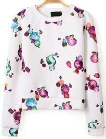 Gemstone Print Crop White Sweatshirt