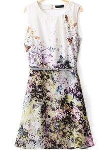Butterfly Print Hollow Dress