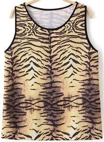 Tigrina Print Slim Vest