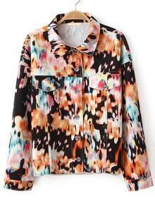 Floral Lapel Crop Jacket