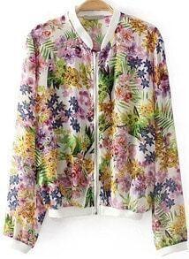 Stand Collar Floral Crop Jacket