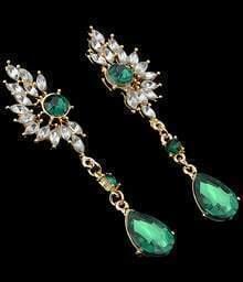 Green Drop Diamond Earrings