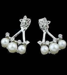 Silver Pearls Diamond Earrings