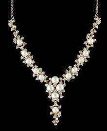 Gold Pearls Diamond Chain Necklace