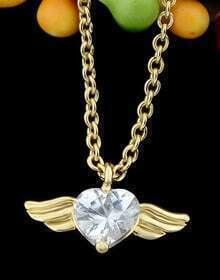 Gold Heart Diamond Wing Necklace