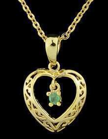 Green Gemstone Gold Hollow Heart Necklace