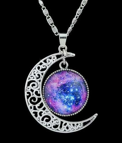 Purple Gemstone Silver Hollow Moon Necklace