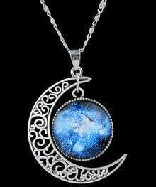 Blue Gemstone Silver Hollow Moon Necklace