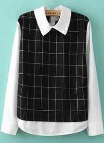 Black White Lapel Long Sleeve Plaid Loose Blouse