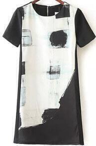 Black White Short Sleeve Print Dress