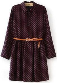 Red Lapel Long Sleeve Vintage Print Dress