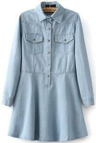 Light Blue Lapel Denim Flare Dress
