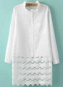 White Long Sleeve Lace Flouncing Dress