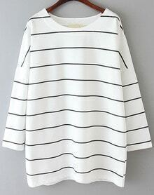 Striped Loose White and Black T-Shirt