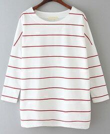Striped Loose White and Red T-Shirt