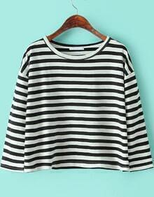 Round Neck Striped Loose Black and White T-Shirt