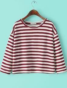 Round Neck Striped Loose Red and White T-Shirt