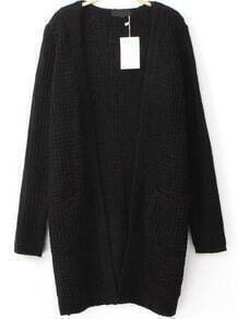 Pockets Knit Black Cardigan