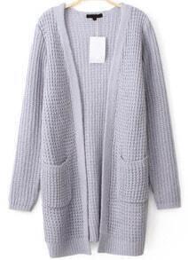 Pockets Knit Grey Cardigan