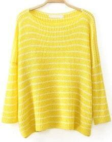 Boat Neck Striped Knit Sweater