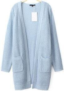 Pockets Knit Blue Cardigan