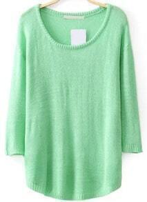 Round Neck Sheer Knit Green Sweater