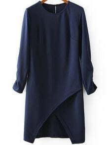 Half Sleeve Hollow Bodycon Navy Dress
