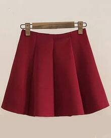 Pleated Flare Wine Red Skirt