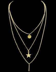 Gold Round Star Chain Necklace