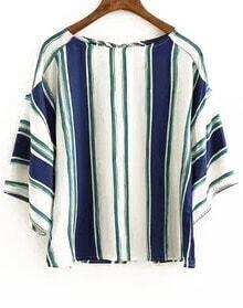 Blue White Vertical Stripe Loose Blouse