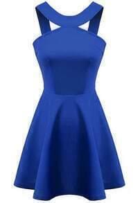 Blue Strap Backless Flouncing Flare Dress
