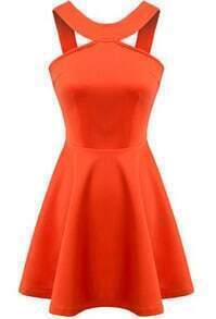 Orange Strap Backless Flouncing Flare Dress
