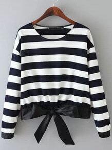Navy Long Sleeve Striped Bow Zipper Sweatshirt