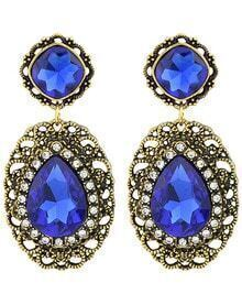 Blue Gemstone Gold Hollow Earrings