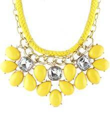 Yellow Drop Gemstone Chain Necklace