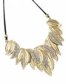 Gold Diamond Leaves Necklace