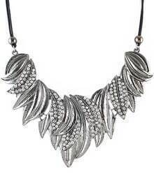 Silver Diamond Leaves Necklace