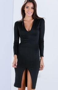 Deep V Neck Split Dress