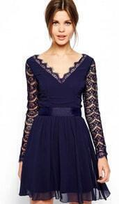 V Neck Lace Pleated Dress