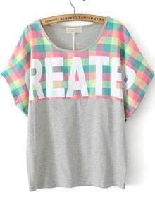 Check GREATER Print Grey T-Shirt